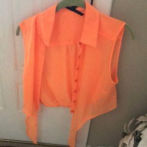 Ali Kris neon orange sheer top with elastic waist